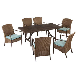 Hampton Bay Brookhaven 7-Piece Patio Dining Set With Sunbrella Spectrum Mist Cushions