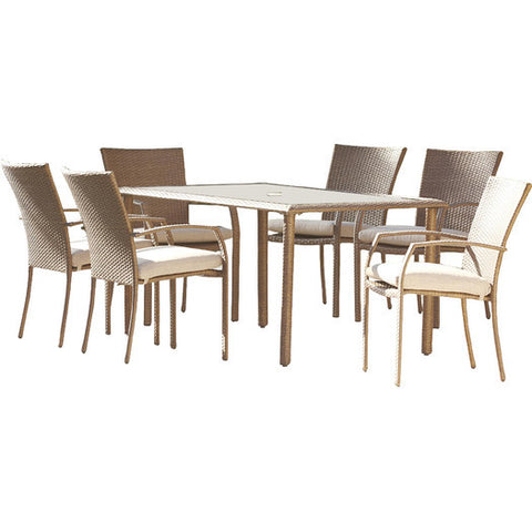 Modern Patio 7 Piece Dining Set With Tempered Glass And Cushions