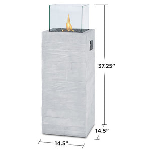 Minimalist Propane Fire Column With Glass and unique