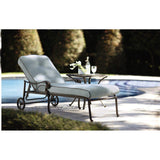Modern Outdoor 73 in. L Bronze Patio Chaise Lounge with Bermuda Blue Cushions