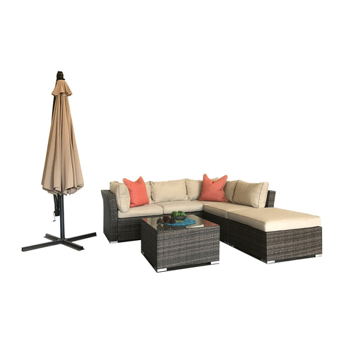 Modern Set Of 5 Pieces Deep Seating Group With Cushion And Umbrella