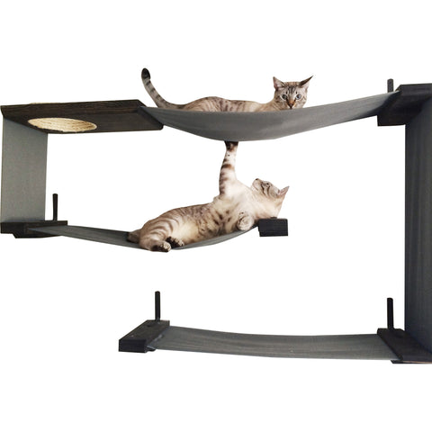 "34"" Multiple Level Handcrafted Cat Perch By Catastrophic Creations"