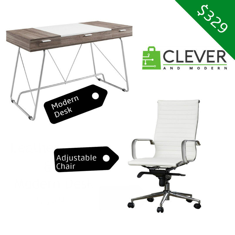 Modern Desk and Leather Chair With Built-In Lumbar Support BUNDLE - Clever and Modern Home and office furniture. Pet Furniture