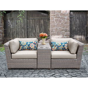 Outdoor Wicker 3 Piece Lounge Seating Group with Cushion - Clever and Modern Home and office furniture. Pet Furniture