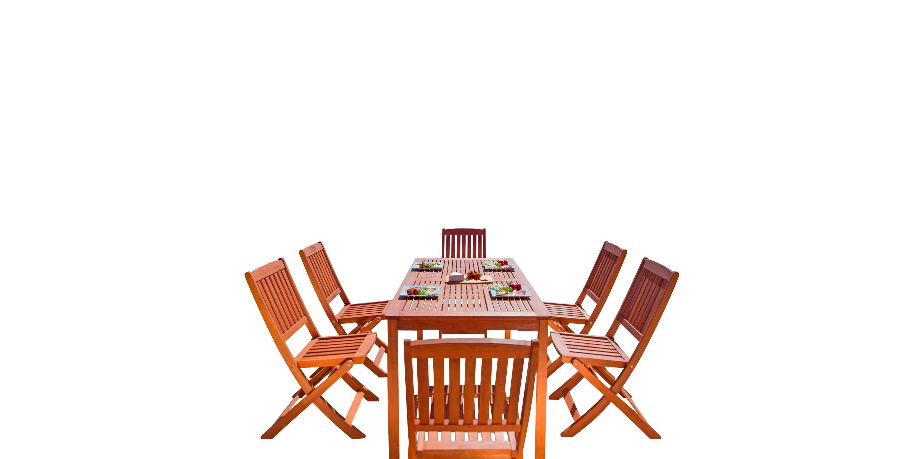 Palm Isle 7-Piece Eucalyptus Dining Set with Folding Chairs