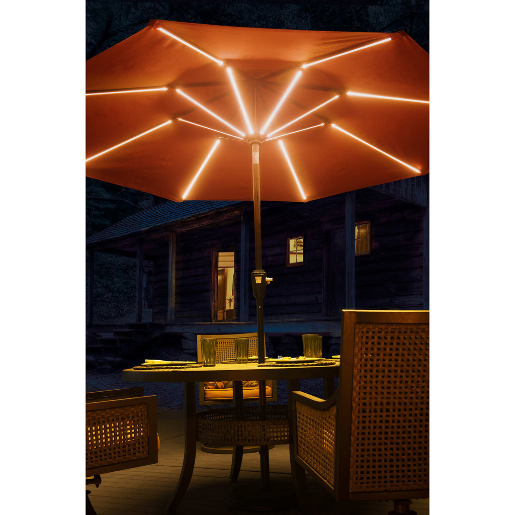 Patio Umbrella With Solar LED Bar Lights   Clever And Modern Home And  Office Furniture.