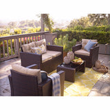 Peregrine 4 Piece Seating Group In Dark Brown With Cushions