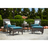 Placerville Brown 6-Piece Wicker Patio Set With Turquoise Cushion