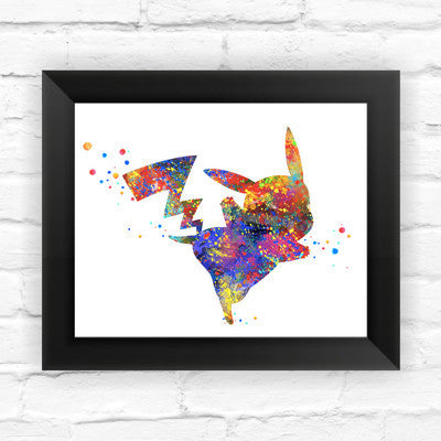 Pikachu Pokemon Anime Wall Decoration on WaterColor Framed - Clever and Modern gadgets and furniture for your home and office.