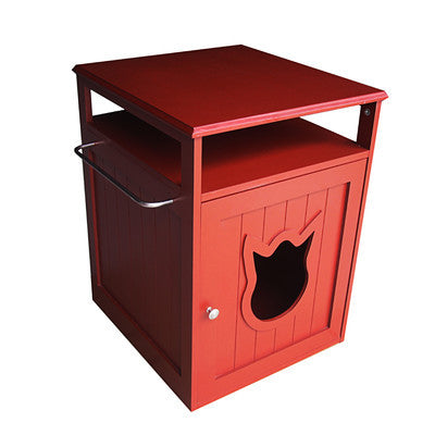 Red Cat Litter Box Furniture 2-in-1 End Table