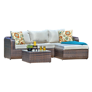 Silver 3 Piece Deep Seating Group With Cushion For Outdoor Patio - Clever and Modern Home and office furniture. Pet Furniture