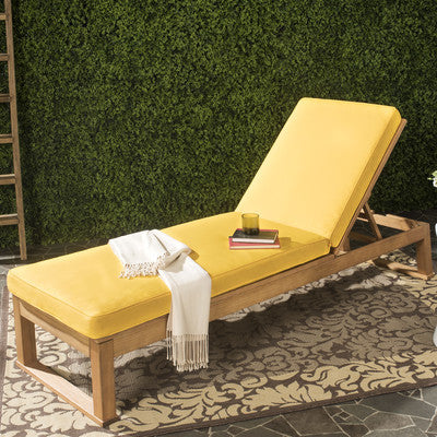 Yellow Sun Lounger With  Eucalyptus Wood Cushion - Clever and Modern Home and office furniture. Pet Furniture