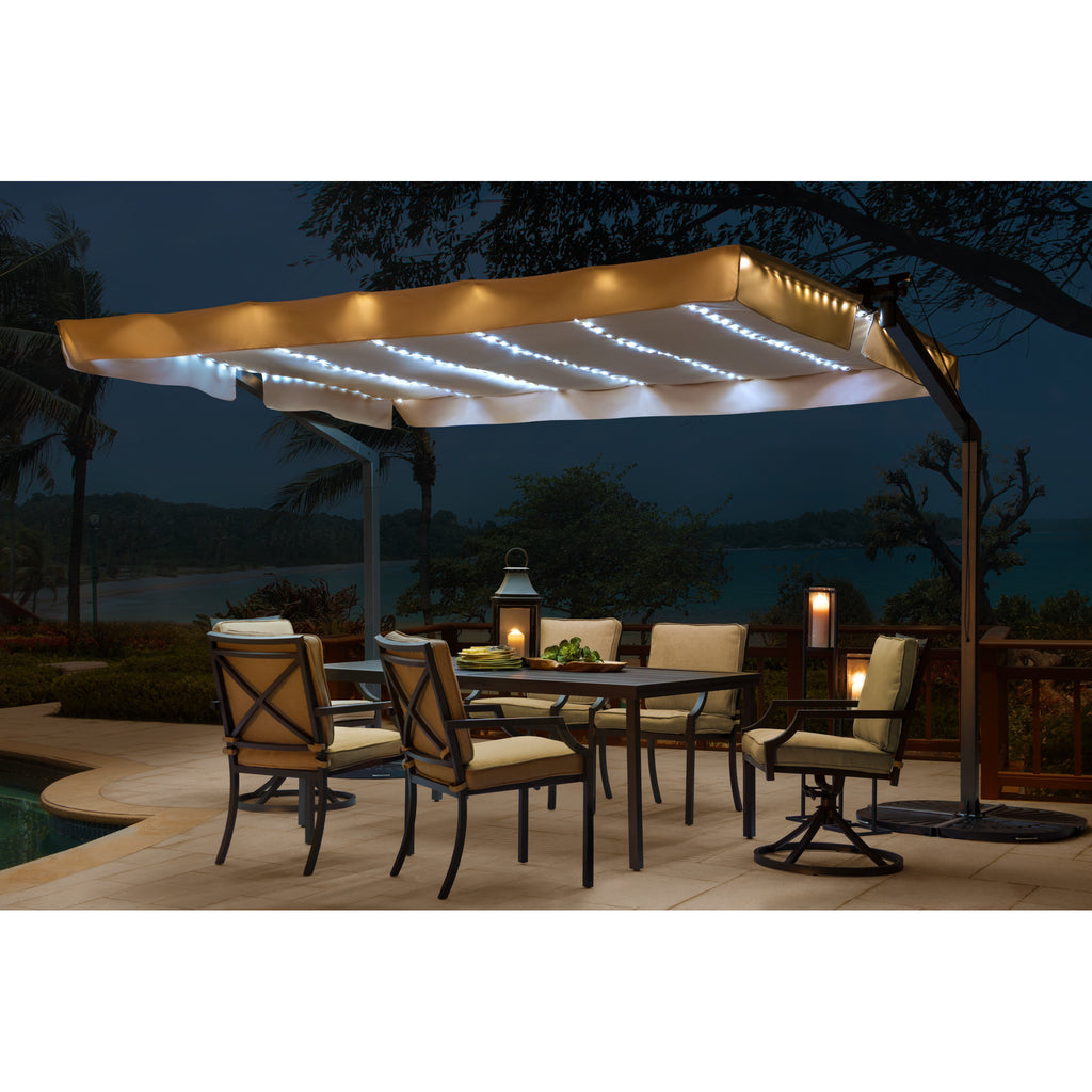Solar Power Rectangular Illuminated Umbrella 7u0027 X 11u0027   Clever And Modern  Home And