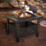 Modern Wood Fire Pit Table Bronze finished with Cover