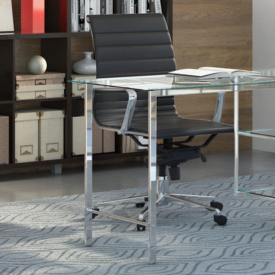 The Classy Home Office BUNDLE w/Glass Desk + Adjustable Chair + PVC Mat - Clever and Modern Home and office furniture. Pet Furniture