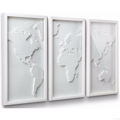 "Modern Wall decor ""The world in white"" color (3 Pieces) - Clever and Modern gadgets and furniture for your home and office."