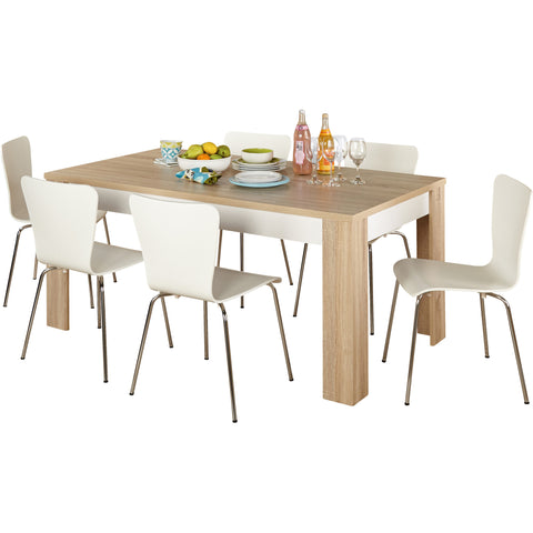 White Modern 7 Piece Dining Set - Clever and Modern Home and office furniture. Pet Furniture