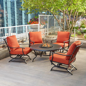 Hampton Bay 5-Piece Patio Fire Pit Seating Set with Quarry Red Cushions - Clever and Modern Home and office furniture. Pet Furniture