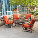 Hampton Bay 5-Piece Patio Fire Pit Seating Set with Quarry Red Cushions