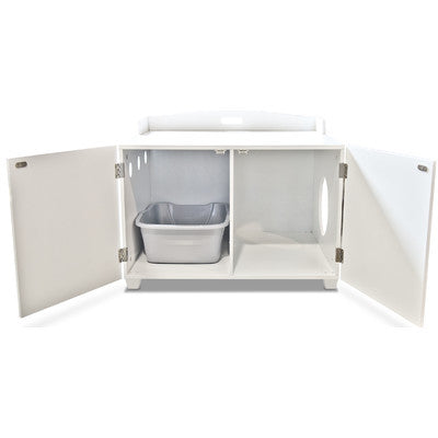 White Hidden Cat Litter Enclosure Table - Clever and Modern Home and office furniture. Pet Furniture