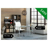 The Classy Home Office BUNDLE w/Glass Desk + Ajustanle Chair + PVC Mat