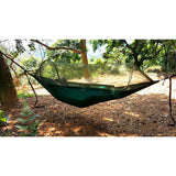 Travel Hiking Green Outdoor Camping Parachute Hammocks with  Mosquito Net