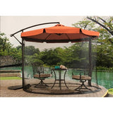 Beige Patio Red Umbrella 10' With Mosquito Netting/Canopy - Clever and Modern Home and office furniture. Pet Furniture