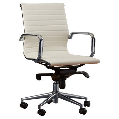 Modern Desk And Leather Chair With BuiltIn Lumbar Support BUNDLE - White leather office chairs