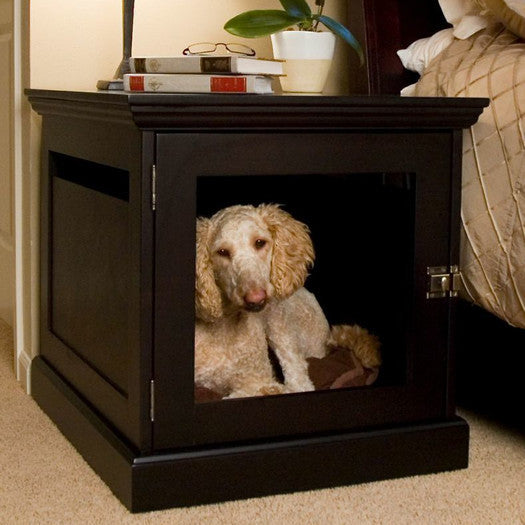 Wood And Brass 2-in-1 Pet Crate Table - Clever and Modern Home and office furniture. Pet Furniture