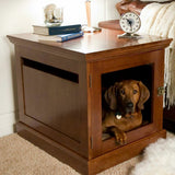 Wood And Brass 2-in-1 Pet Crate Table