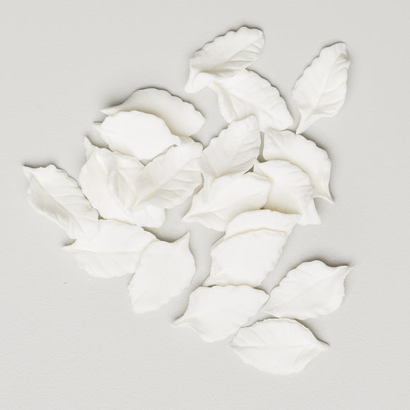 Mini Rose Leaves -  White NO WIRE (110 per box)