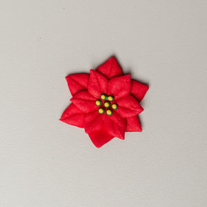 "1.5"" Royal Icing Poinsettia - Medium - Red"