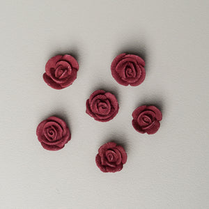 "1/2"" Mini Classic Royal Icing Rose - Burgundy"