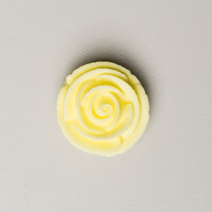 "1.25"" Medium Classic Royal Icing Rose - Pastel Yellow (32 per box)"