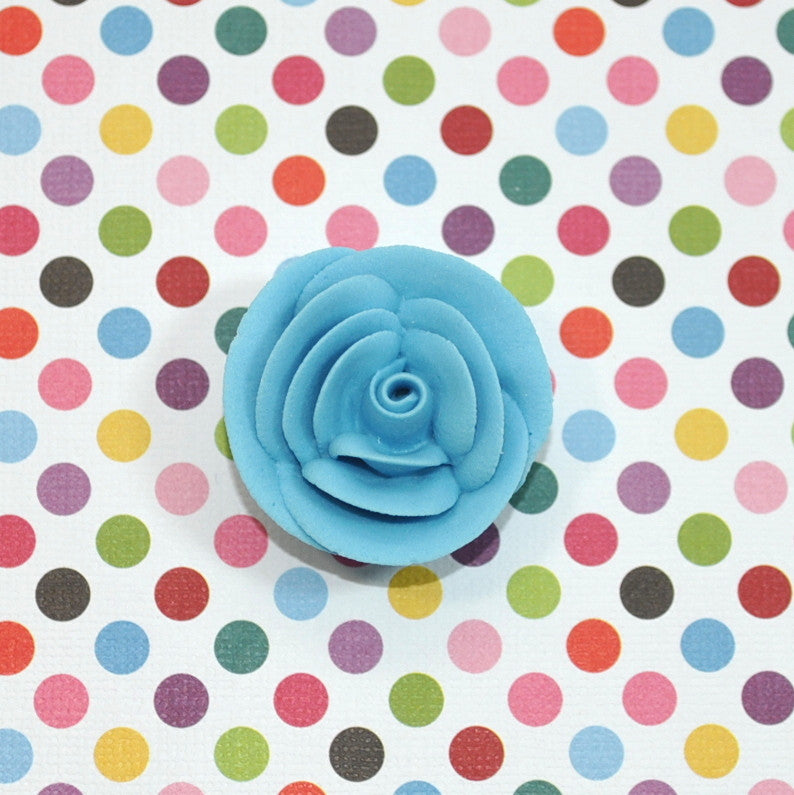 "1.25"" Medium Classic Royal Icing Rose - Teal Blue (32 per box)"