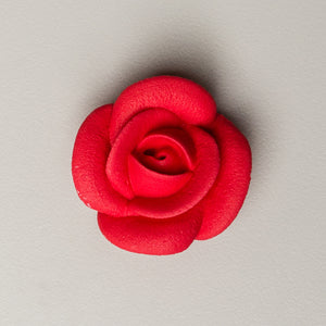 "1.5"" Large Classic Royal Icing Rose - Red (32 per box)"