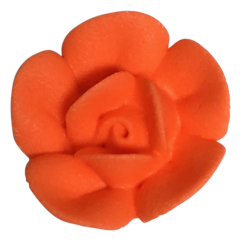 "1"" Royal Icing Rose - Medium - Orange (32 per box)"