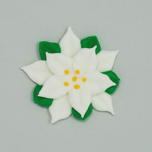 "2"" Royal Icing Poinsettia - Large - White - Kosher"