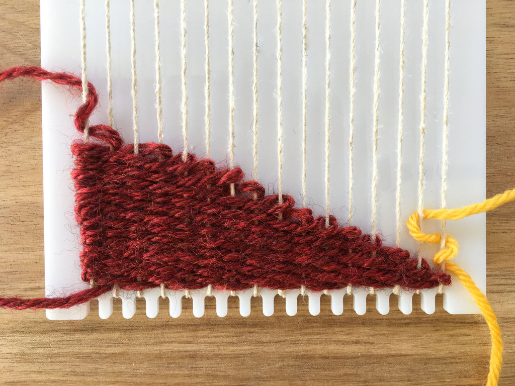 weaving second color in a diagonal weave