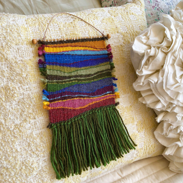 Woodlands weaving kit sample woven piece