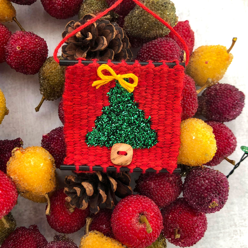 Tiny Christmas Tree ornament on fruit wreath