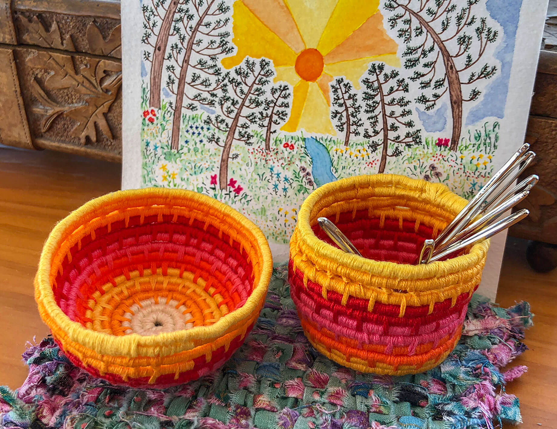 DIY coiled baskets