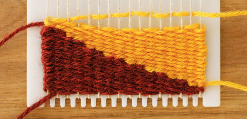 how to weave two diagonal shapes together