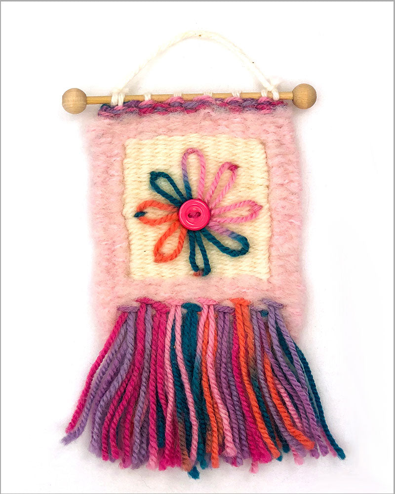 little pink wall hanging using rya knots