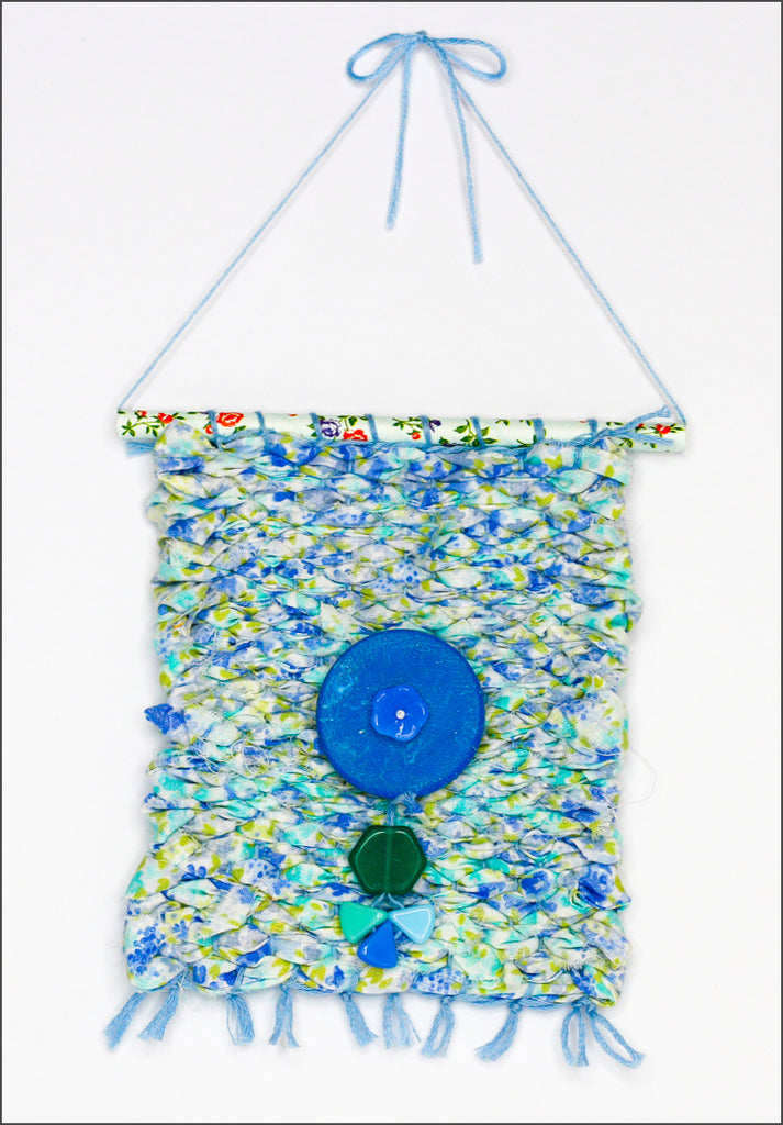 Upcycled handwoven wall hanging- blue