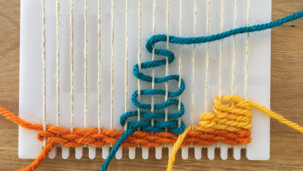 Weaving a shape on a frame loom