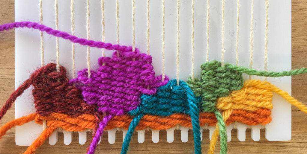 Woven shapes on the loom.