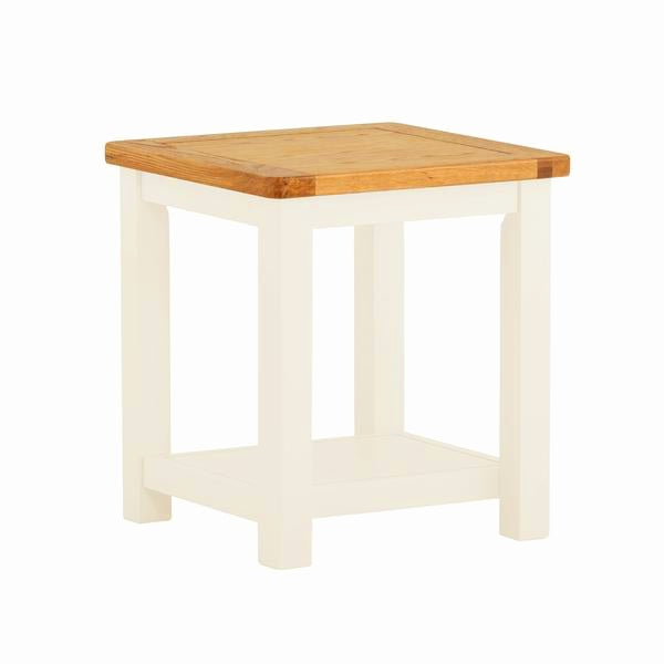 Portland Oak & White Painted Lamp Table