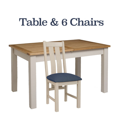 Portland Oak & Painted Dining Table +6 Chairs Package