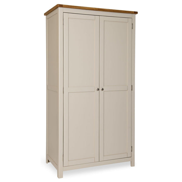 Portland Oak and Painted 2 Door Wardrobe